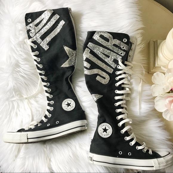 212d04fd12f Converse Shoes - Converse All Star Super Tall Black Sequins M 4 W 6